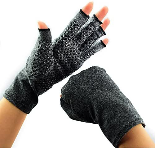 Beyoung Arthritis Gloves, Fingerless Compression Gloves, Recovery Gloves Relieve Pain from Arthritis, RSI, Raynauds & Carpal Tunnel for Computer Typing and Daily Work (L1)