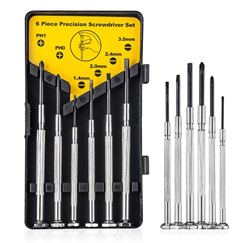 6Pcs Precision Screwdriver Set With Case, 6 Different Size Flathead and Cross Screwdrivers, Mini Screwdriver  Ideal for Eyeglass, Watch, Jewelers, Electronic Devices, Game Controllers, DIY Projects