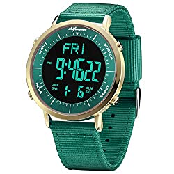Digital Watches, shifenmei S1144 Digital Sport Watch Daily Alarm Hourly Chime Stopwatch 12/24H Date and Day EL Backlight Sport Military Outdoor Waterproof Large Face Watch for Men Women Kids(Green-1)