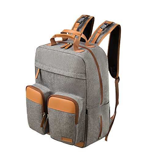 Lekebaby Diaper Bag Backpack for Dad and Mom with Leather Details