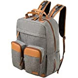 Lekebaby Diaper Bag Backpack for Mom and Dad with Diaper Changing Pad Large Capacity, Grey