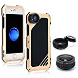 iPhone 7 Camera Lens Kit, OXOQO 3 in 1 202° Fisheye Lens + 18X Macro Lens + Wide Angle Lens with Dustproof Shockproof Aluminum Case, Separate Screen Protector Included(Gold)