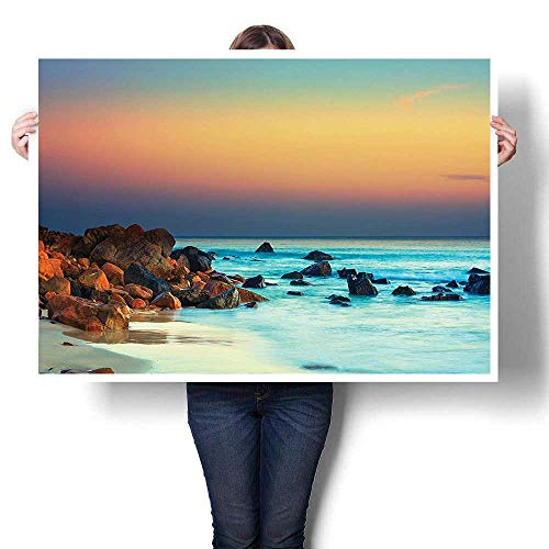 (1-Piece 100% Paintings,Collection Colorful Sunset over the Sea Stones on Foreground Caribbean Coast Scenery Pictu painting,Modern Abstract Painting Canvas Living Room,56
