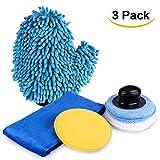 CarBoss Car Wash Kit Wax Applicator Pads Waxing Polish Sponge Premium Microfiber Towel Car Wash Mitt Car Care Kit, 3 Pack