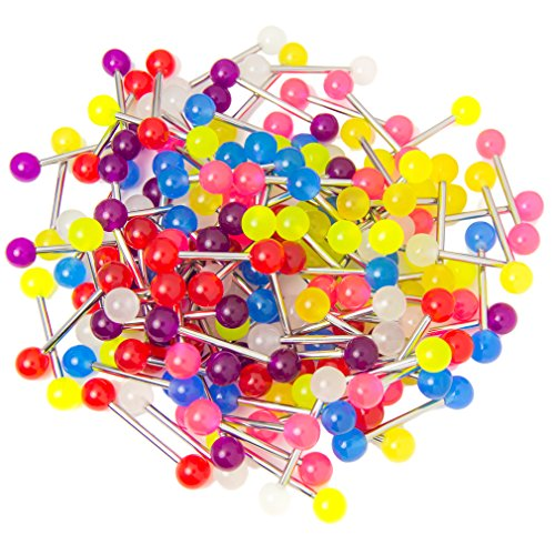 BodyJewelryOnline 100 Mixed Glow in The Dark 14ga Straight Barbell - Wholesale Pricing - Tongue or Nipple Piercings