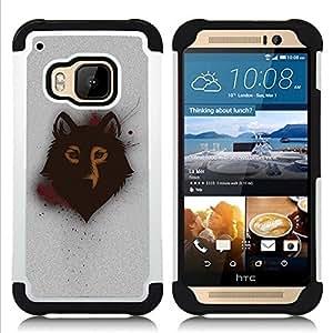 BullDog Case - FOR/HTC ONE M9 / - / Spray Graphiti Wolf Art /- H??brido Heavy Duty caja del tel??fono protector din??mico - silicona suave