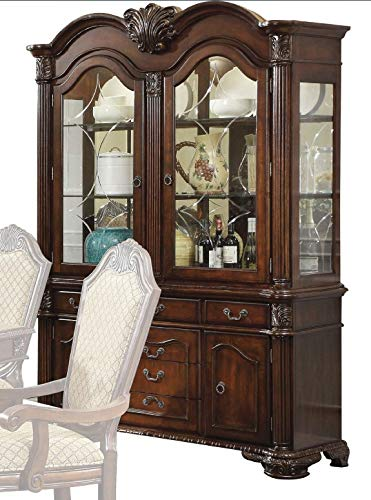 ACME Chateau De Ville Espresso Hutch Buffet (Large China Cabinet)