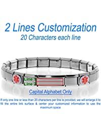 Medical Alert ID Bracelet - Laser Engraved (Personalization possible), Sizeable & Stretchable, Italian Style Modular Charm Links, Fits: Women, Men, Kids - SELECT YOUR WRIST SIZE