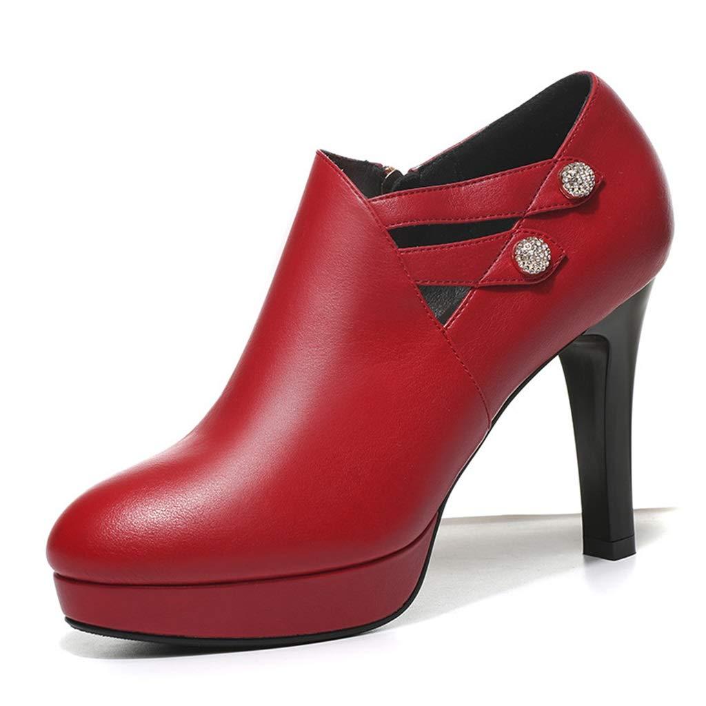 RED Waterproof Platform High Heel Women's Fine with Sexy Single shoes Commute OL Rhinestone High Heel Red Wedding shoes Female Super High Heel shoes 9cm (color   Black, Size   39)