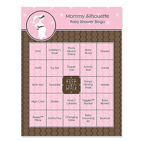 Mommy Silhouette (It's A Girl - Mommy-To-Be Silhouette - Baby Shower Game Bingo Cards - 16 Count)