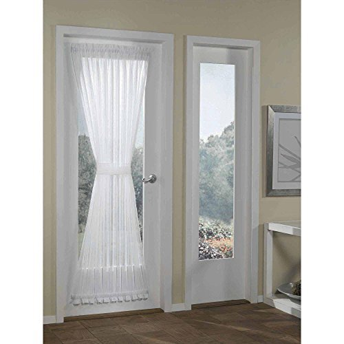 RHF Voile French Door Curtains/panel 40W by 72L Inches-Voile White -