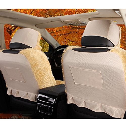 5 Pcs Universal Car Seat Cover Set Cushions Front Rear Coral Fleece Soft And Warm For Winter Driving (L, Beige) by AUTOPDR (Image #4)