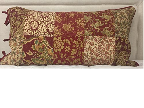 Linden Street 100% Cotton Sham - Red and Gold Paisley Print - King 21 Inches X 37 Inches