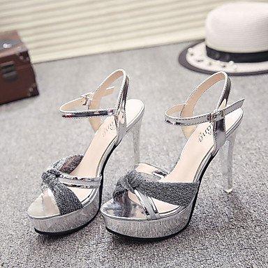 YFF Donna Sandali Primavera Estate Comfort brevetto esterno in pelle Stiletto Heel a piedi,argento,noi6.5-7 EU37 UK4,5-5 CN37