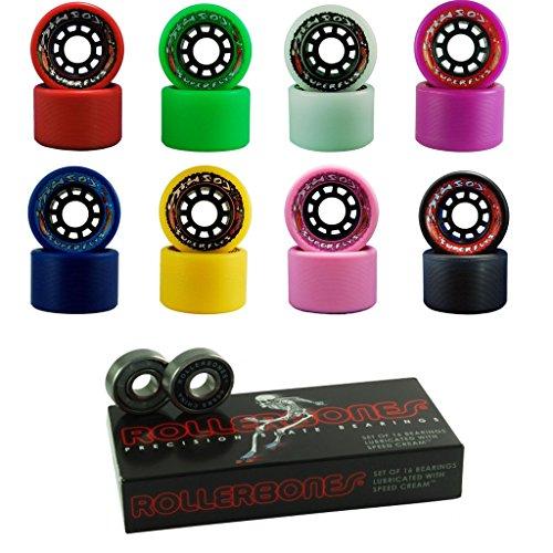Red Cosmic Indoor Outdoor Roller Skate Wheels with Bearings