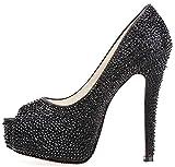 Garyline Women Peep Toe Platform Beads High Heels Wedding Pumps Crystal Dress Heels