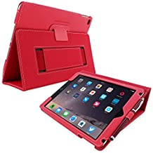 Snugg iPad Air 2 Case - Smart Cover with Flip Stand & Lifetime Guarantee (Red Leather) for Apple iPad Air 2 (2014)