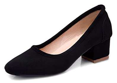 e59c108ad68e SFNLD Women s Classic Square Toe Low Cut Block Heel Slip On Pumps Shoes  Black 4 B