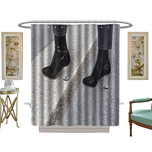 - luvoluxhome Shower Curtain Collection by Milan, Italy September, Detail of Shoes Outside Blumarine Fashion Satin Fabric Sets Bathroom W36 x L72