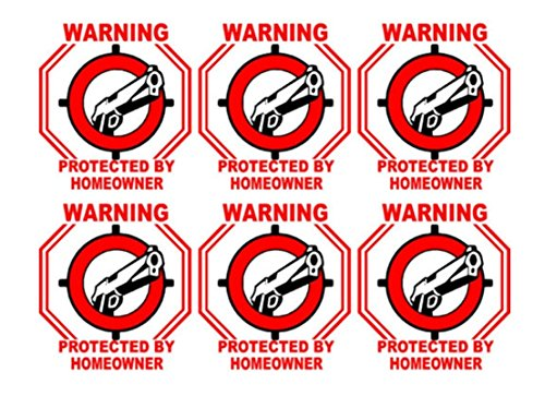 6 Pcs Sublime Popular Warning Protected by Homeowner Sticker Sign Security Surveillance Home Decal Size 3