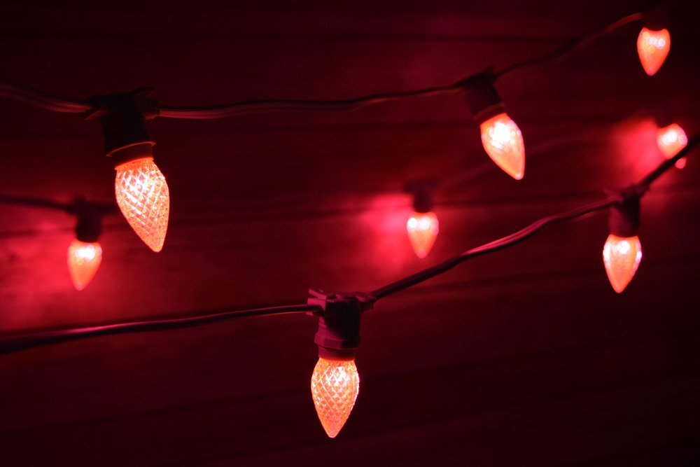 Fantado 50 Socket Outdoor Commercial Light Set, E12 Pink LED Bulbs, 54 FT White Cord, Weatherproof by PaperLanternStore