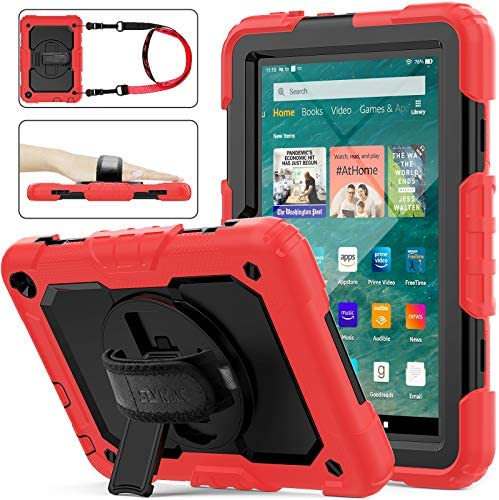 SEYMAC inventory Case for FireHD 8/8Plus (tenth Generation 2020 Release), Full-Body Shock-Proof Case with 360 Degrees Rotating Stand [Pen Holder][Screen Protector] for FireHD 8/8 Plus tenth Gen (Black+Red)