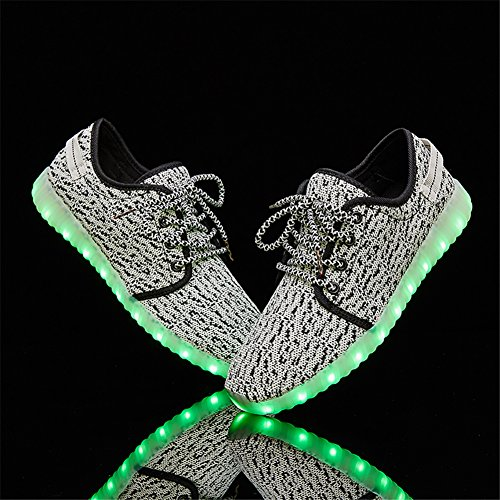 LEOVERA Herren & Damen LED-Schuhe USB Lade leuchten Schuhe blinkende Sneakers Grey02