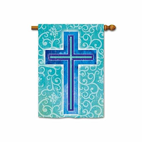 Hamory Religious Easter House Flag Cross Banner 28x40 Inch Printed Both Sides (Easter Flag Banner)