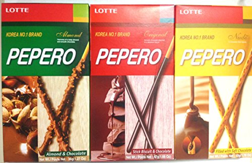 Lotte Pepero Variety Value Package Original Chocolate Almond Chocolate Nude Chocolate Filled Biscuit Sticks Pack Of 12 4 Each Flavor Amazon Com Grocery Gourmet Food