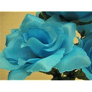 "Phoenix Silk 6 Bushes Small Open Rose 7 Artificial Silk Flowers 12"" Bouquet 2026 BLUE TURQUOISE 53"