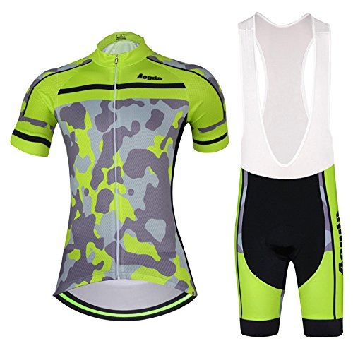 Womens Cycling Jersey 2017 Wosaw Cool and comfortable Cycle Racing Clothing Wear Short Sleeve Skinsuits Shirt Green Camo D409 (bib 1 set, M)