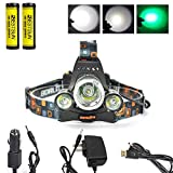 BESTSUN Green Color Light Headlamps Green Coyote Hog Hunting Light Tactical 5000LM 3 x CREE XM-L T6 +2 x Green R5 LED Head Flashlight Rechargeable GREEN Lights Headlight Torch Lamp Night Vision