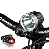 Night Eyes Brightest 1200 Lumens Rechargeable Bike Light, Mountain Bike headlamp -8.4V 6400mA Waterproof ABS Battery- Free Alumium Bike Taillight Bonus For Sale