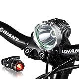 Night Eyes Brightest 1200 Lumens Rechargeable Bike Light, Mountain Bike headlamp -8.4V 6400mA Waterproof ABS Battery- Free Alumium Bike Taillight Bonus For Sale
