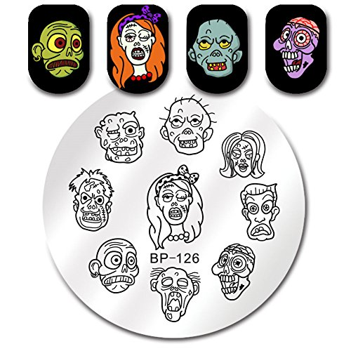 BORN PRETTY Round Stamping Plate Halloween Skull Scary Face 5.5cm Manicure Nail Art Image Plate (Pretty Faces For Halloween)