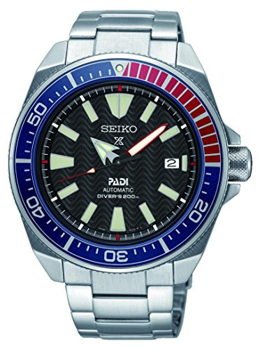 Seiko-Mens-Prospex-Special-PADI-Edition-Samurai-Black-Dial-Stainless-Steel-Bracelet-Watch-Model-SRPB99