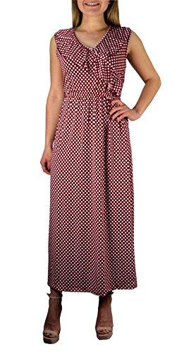 Peach Couture Lunares De Cuello En V Sin Mangas De La Colmena Vestido Maxi Largo (Rojo Large)