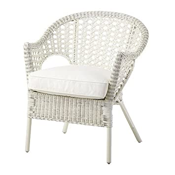 IKEA - Silla, ratán, bambú Bamboo Chair white with cushion ...