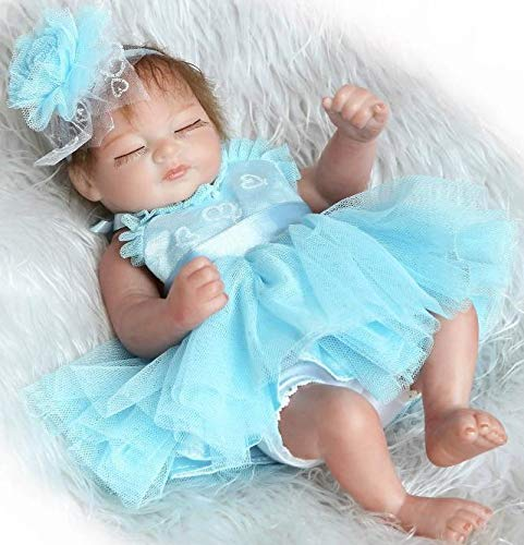 Blue Mini Doll - Pinky 26cm 10 Inch Mini Hard Vinyl Silicone Full Body Reborn Baby Doll Realistic Newborn Dolls with Blue Dress Xmas Birthday Present