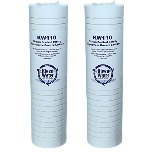 Replacement Twin Pack (Aqua-Pure AP110 Compatible Filter, KleenWater Brand KW110 Replacement Water Filter Cartridge Twin Pack, 5 Micron Dirt Rust and Sediment Filtration, Set of 2)