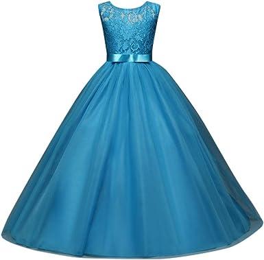 Bonjouree Robe Fille Mariage Robe Princesse Longue Dentelle De Ceremonie Soiree Pour Enfant Fille 5 12 Ans Amazon Fr Vetements Et Accessoires