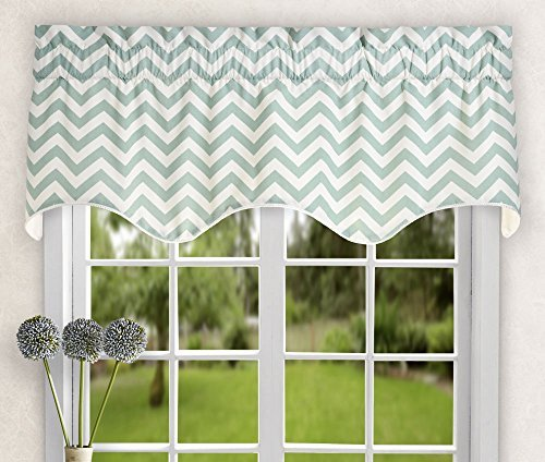- Ellis Curtain Reston Chevron Stripe Lined Scallop Valance, 50 x 17, Spa by Ellis Curtain