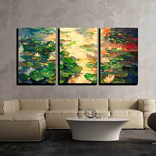 wall26 - 3 Piece Canvas Wall Art - the Oil Painting of Lotus Pool - Modern Home Decor Stretched