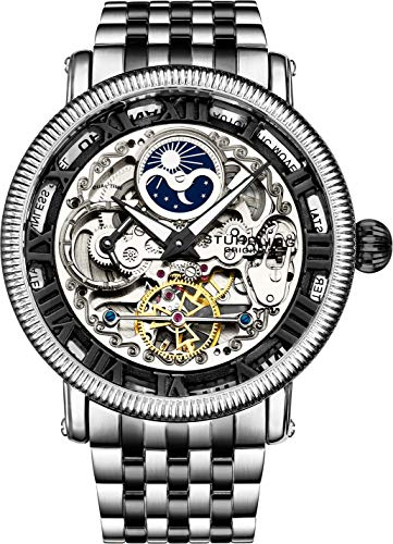 Stührling Original Black and Silver Mens Skeleton Watch, Analog Skeleton Watch Dial, Dual Time, AM/PM Sun Moon, Stainless Steel Bracelet, 3922 Watches for Men Collectio