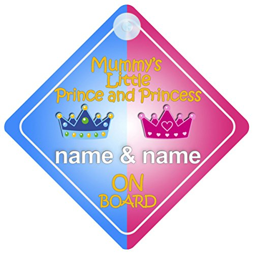- Mummy's Little Prince and Princess On Board Personalised Car Sign New Baby / Child Gift / Present