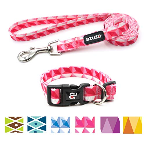 - azuza Dog Collar and Leash Set, Adjustable Nylon Collar with Matching Leash, Pink Flag for Medium Dogs