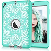 iPad mini/2/3 Case, Hocase Shockproof Hybrid Dual Layer Hard Rubber Protective Case with Cute Flower Design for Apple iPad mini 1st/2nd/3rd gen 7.9-inch - Teal / Grey