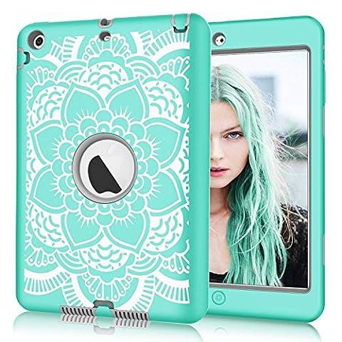 iPad mini 3 / 2 / 1 Case, Hocase Double Layer Rugged Hard Rubber Protective Case Cover for Apple iPad mini 1 / 2 / 3 - Aqua Flower / (Hard Cases Ipad Mini)