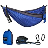 ASOUT Double Camping Hammock-Lightweight Nylon Portable Hammock with Hammock Tree Straps,for Outdoor Backpacking Travel.(Dark Grey/Dark Blue, Double)