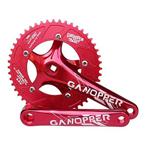 GANOPPER 48 Gear Star Fixie Fixed Gear Bike One Speed Chainset 1X 130BCD Crankset 175mm Crank Arm (Red)
